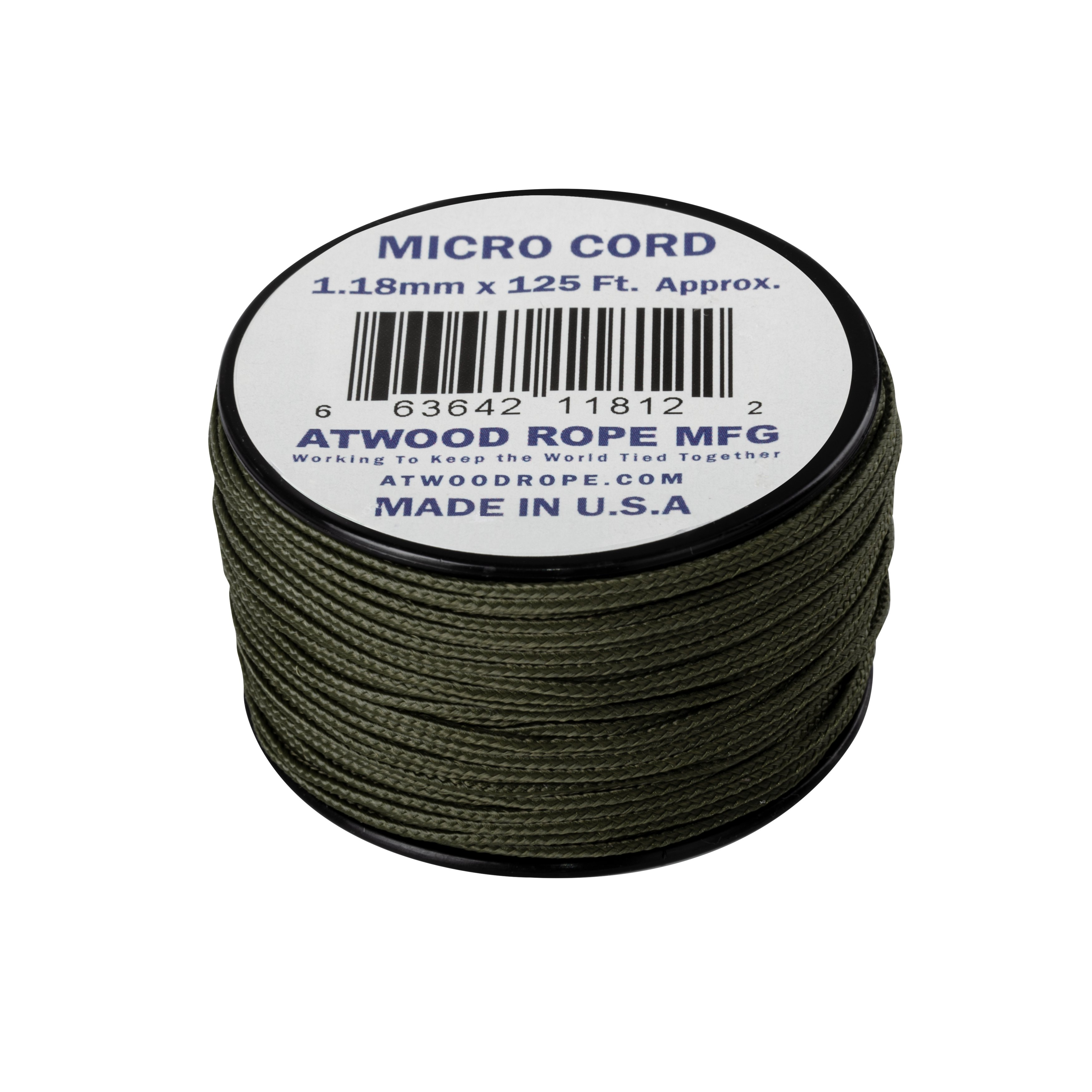Made in the USA Hunter Green Micro Cord 1.18mm 125ft Nylon Rope Spool